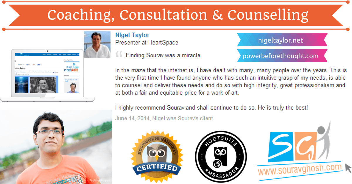 Coaching, Consultation & Counselling with Sourav Ghosh