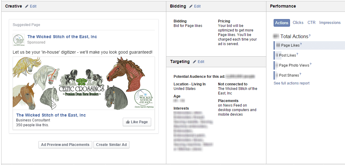 Facebook advertisement example