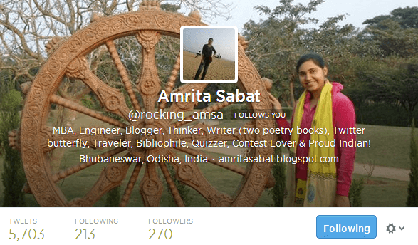 Amrita Sabat rocking_amsa on Twitter
