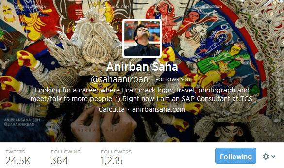 Anirban Saha sahaanirban on Twitter