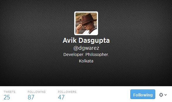 Avik Dasgupta dgwarez on Twitter