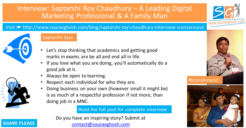 #IconsAround Interview: Saptarshi Roy Chaudhury – A Leading Digital Marketing Professional & A Family Man