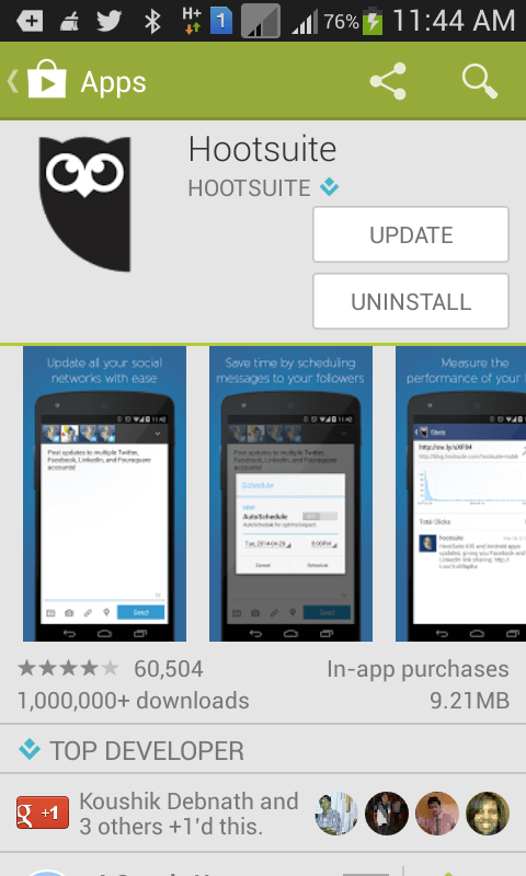 Install Hootsuite Android app on your mobile