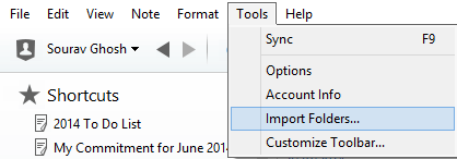 Import folders into evernote