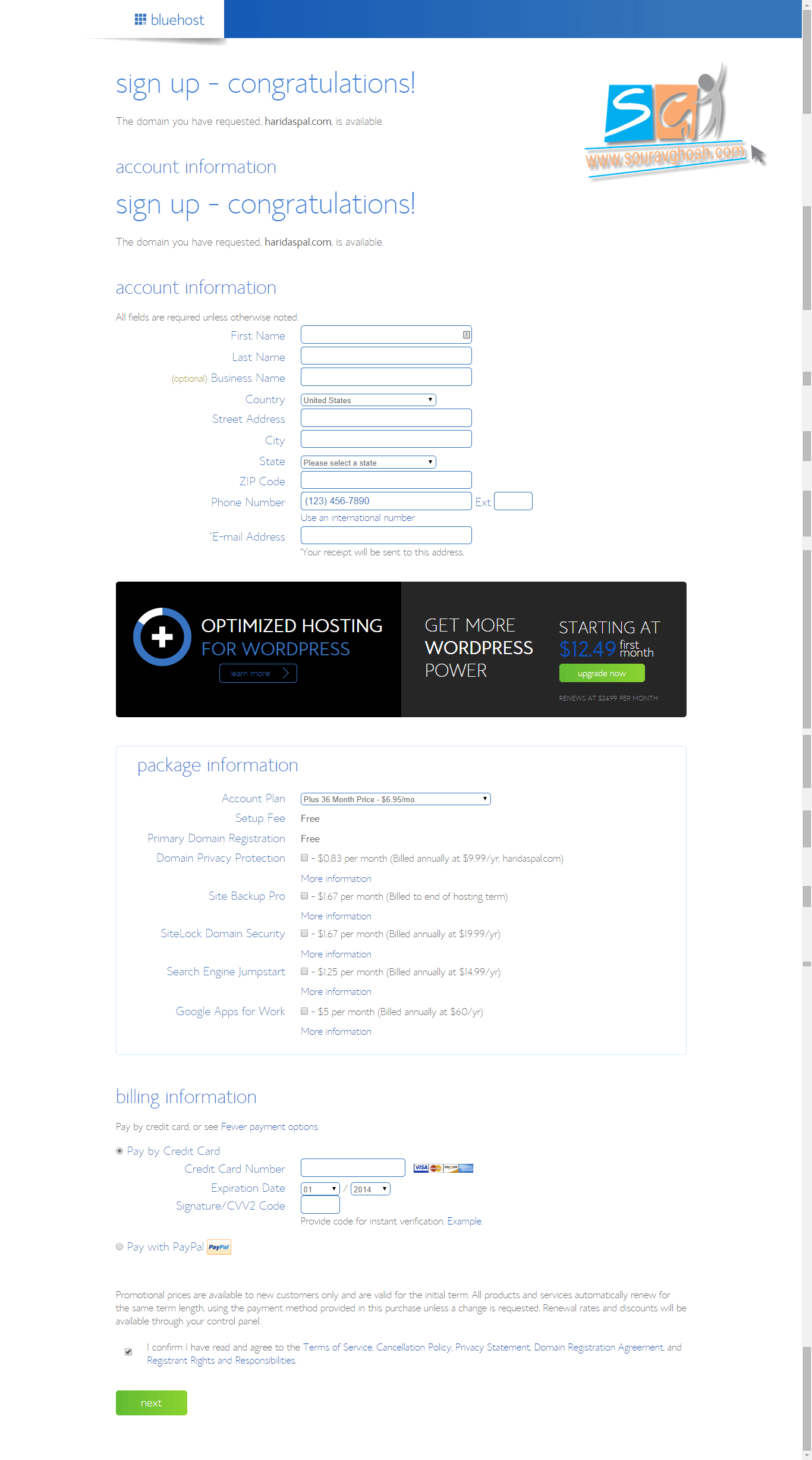 Bluehost fill details page