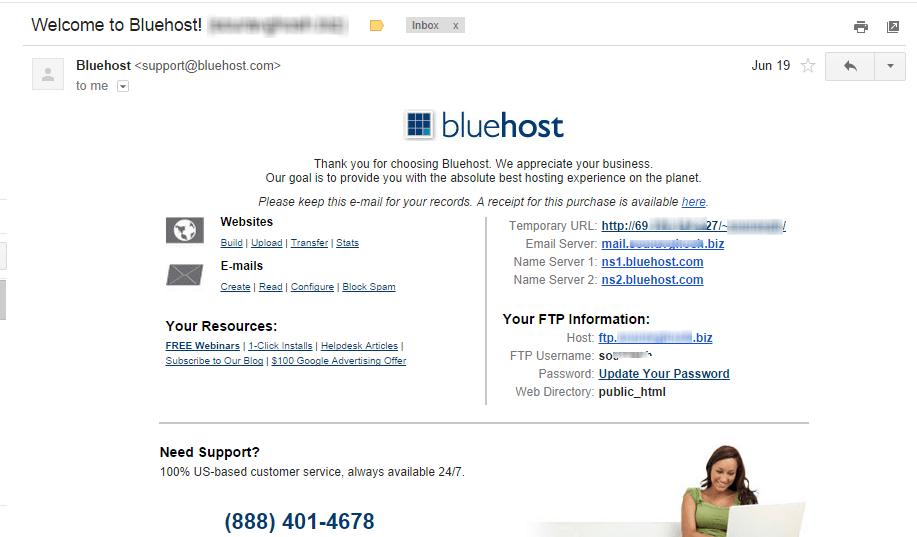 Bluehost welcome email