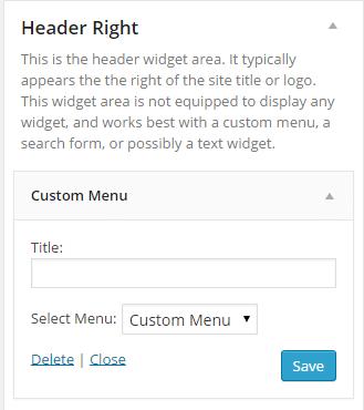 Custom menu at header right