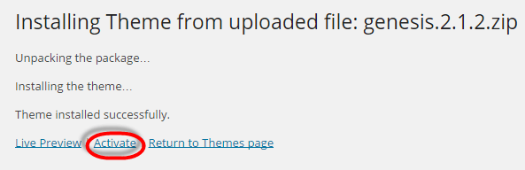 Genesis Framework Installed