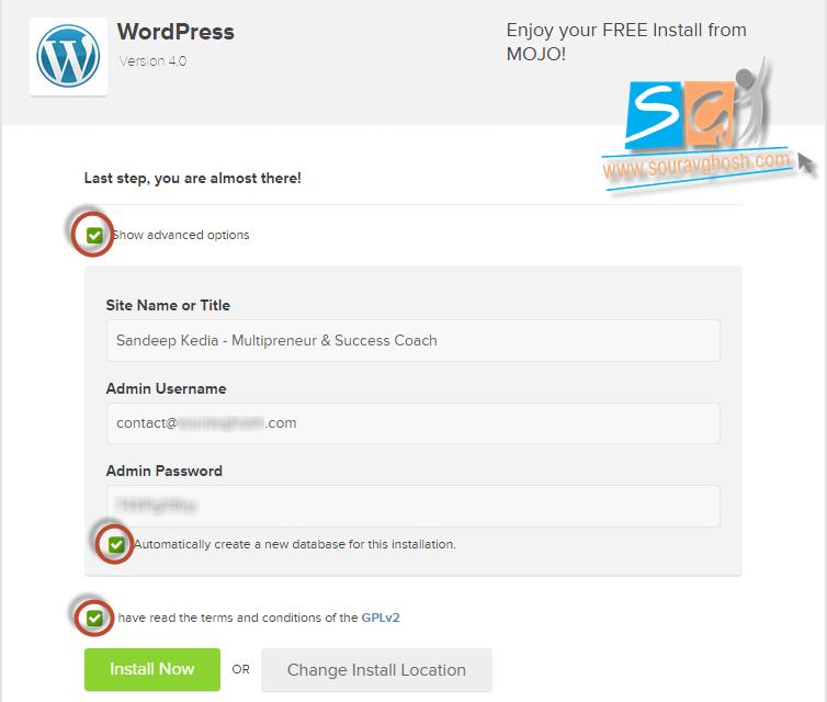 Mojo Marketplace WordPress Installation Step 2