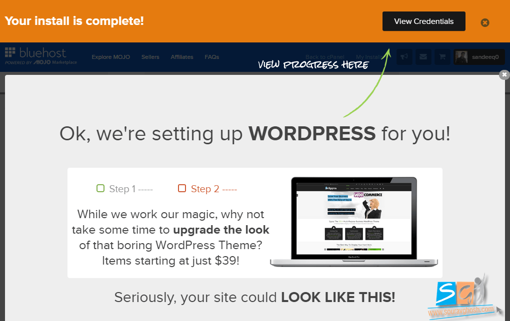 Mojo Marketplace WordPress Installation Complete
