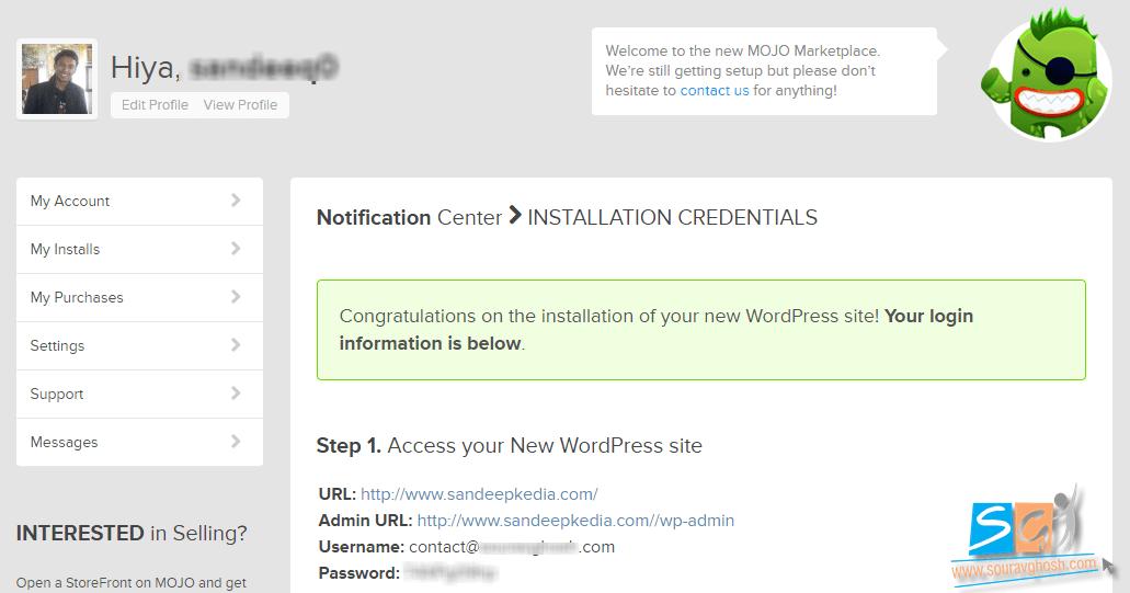 WordPress Installation Credentials