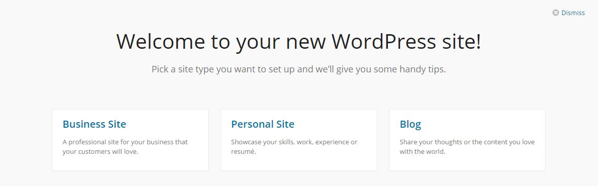 WordPress Welcome Option
