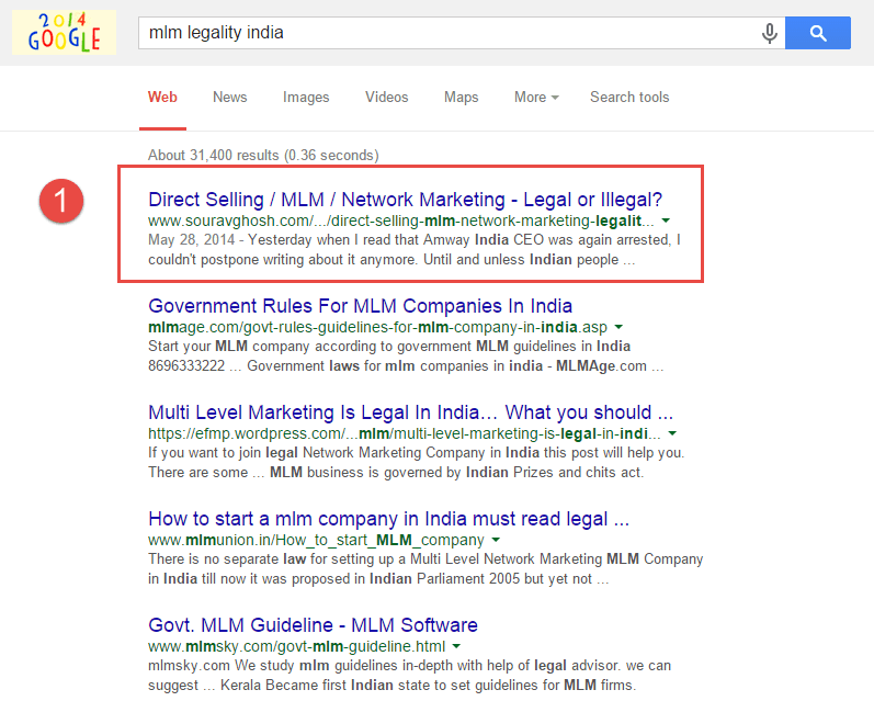 Search Engine Ranking 1 for MLM Legality India