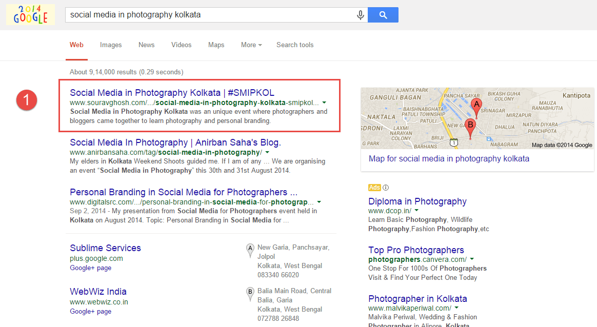 Search Engine Ranking 1 Social Media in Photography Kolkata