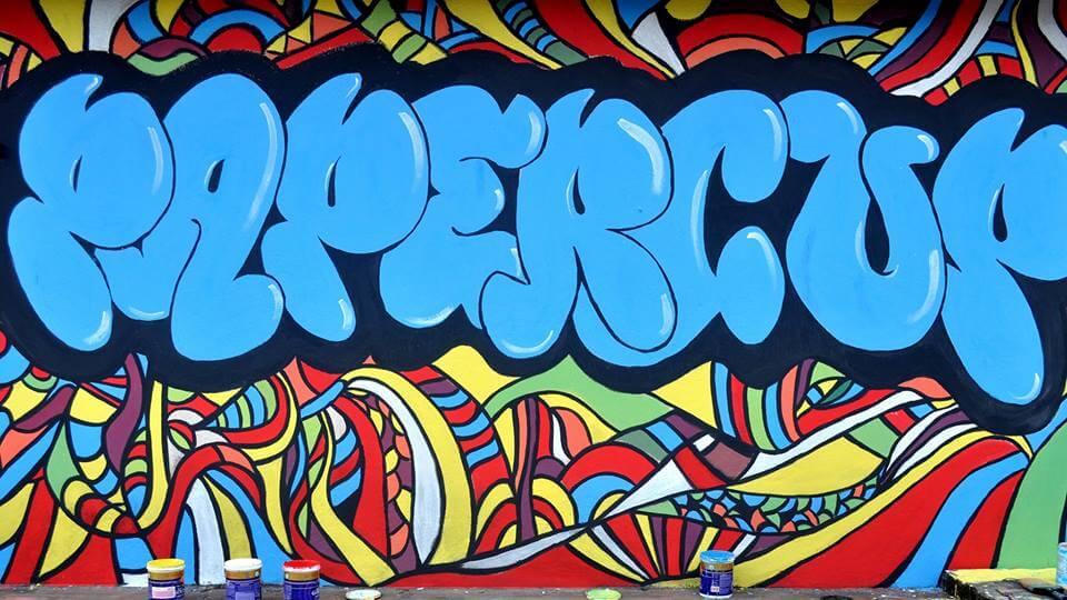 Papercup graffiti on the terrace