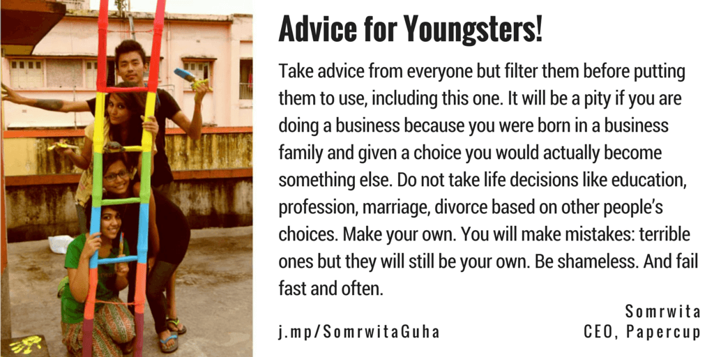 Somrwita Guha Papercup IconsAround Advice for Youngsters