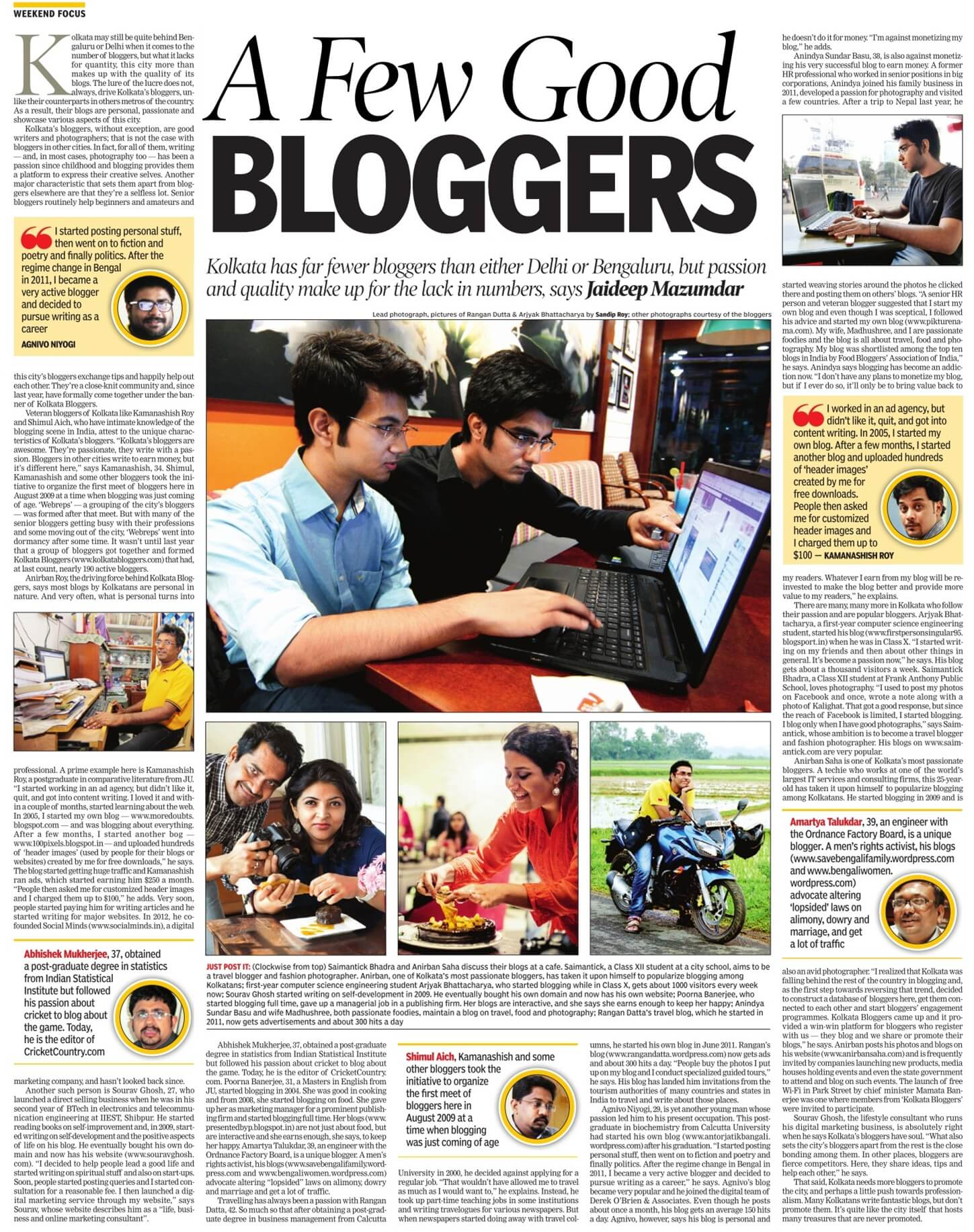 Few Good Bloggers Kolkata Bloggers on Times of India
