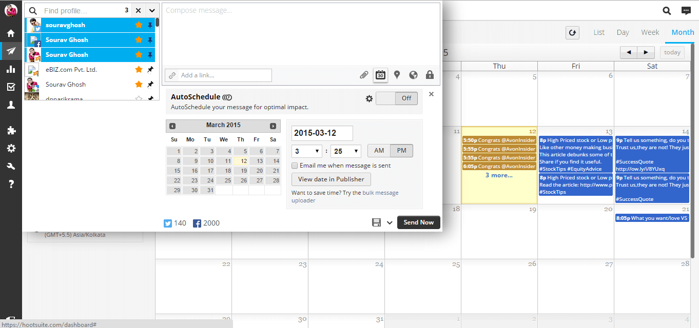 Hootsuite scheduling and publishers