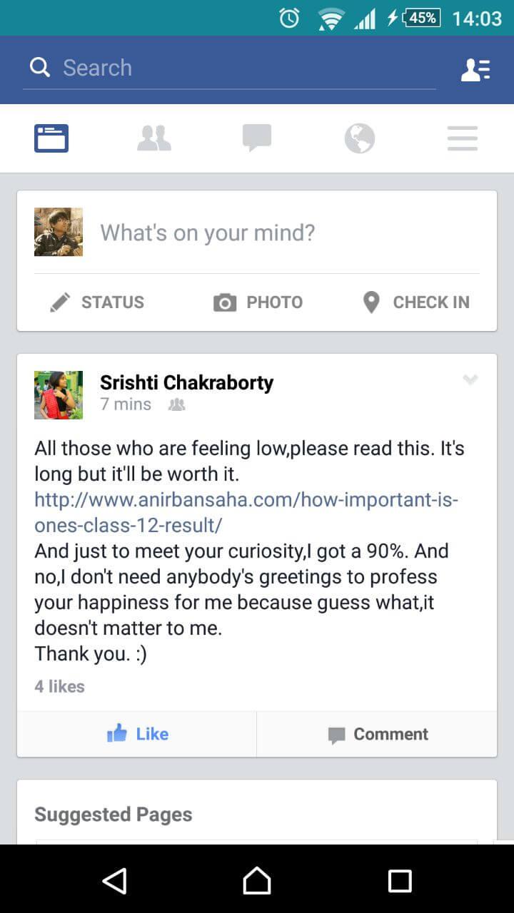 Anirban Saha blog post shared on Facebook 1