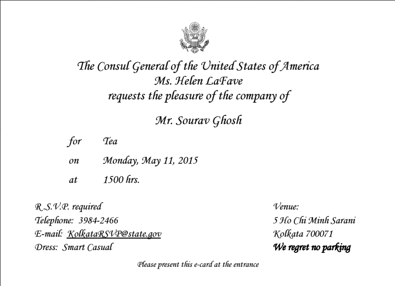 Official Invitation from US Consul General