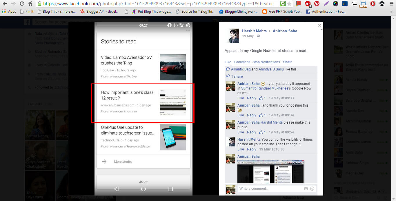 anirban saha blog post appearing on google now 1
