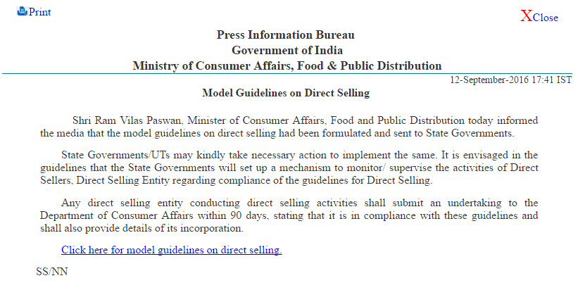 Direct Selling Guidelines 2016 Press Release
