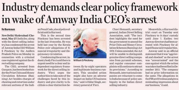 Paper cutting of Amway India Chairman Arrest