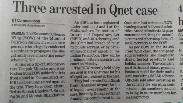 Qnet Arrest Case Newspaper Clipping