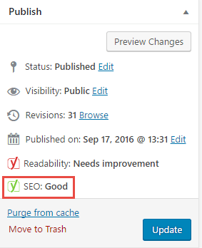 Is the Overall SEO Status Green