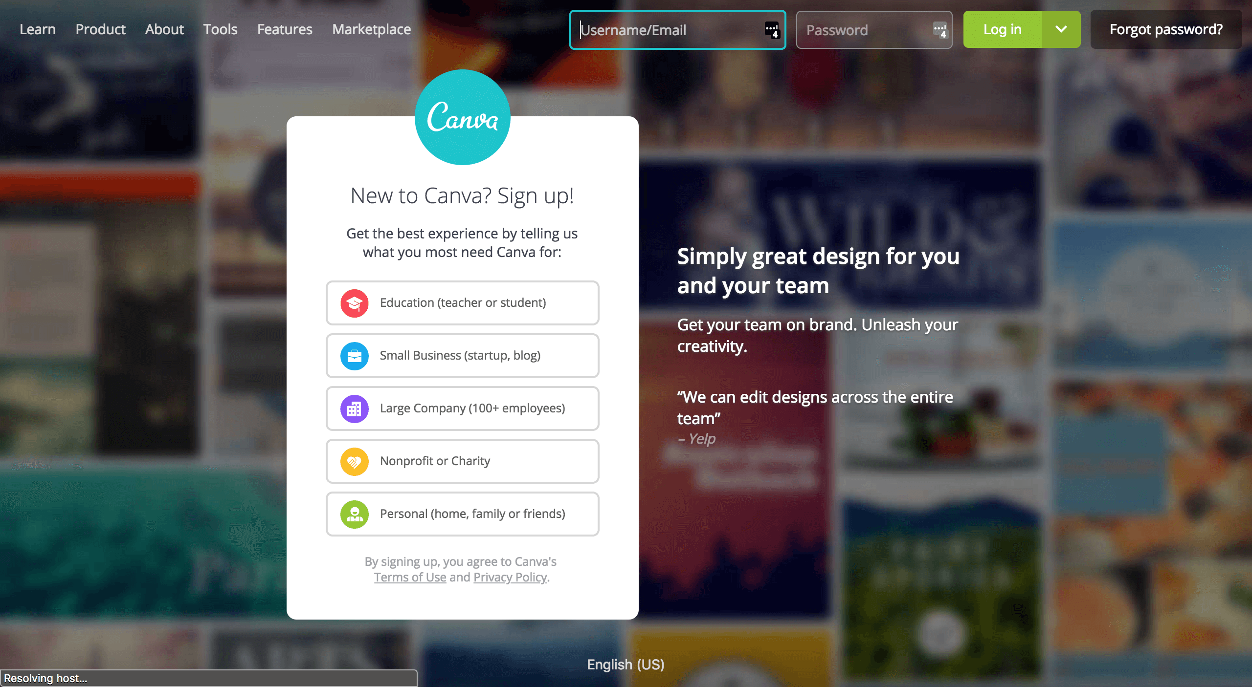 Sign up page for Canva Graphics Design App