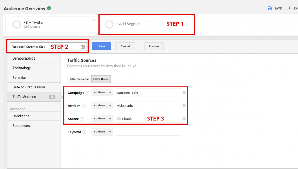 Google Analytics Custome Segment
