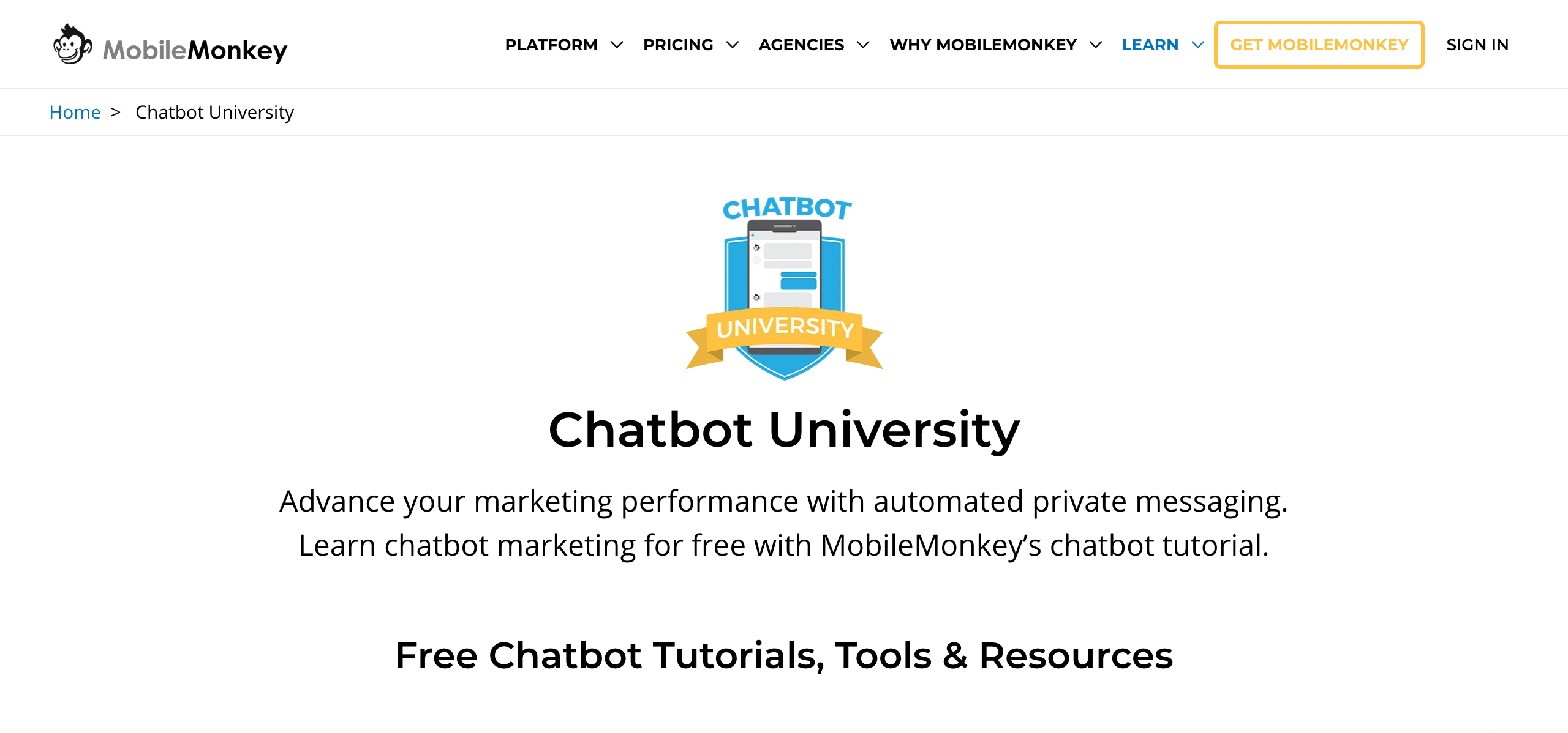 Chatbot University MobileMonkey